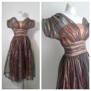 Vintage 50s metallic striped party prom dress
